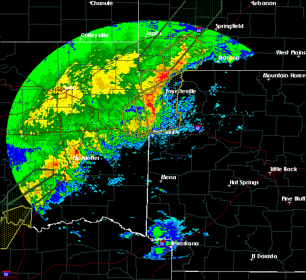 Radar Image for Severe Thunderstorms near Bethel Heights, AR at 1/10/2020 4:47 PM CST