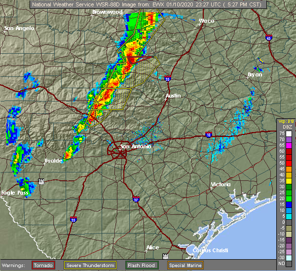 Radar Image for Severe Thunderstorms near Comfort, TX at 1/10/2020 5:29 PM CST