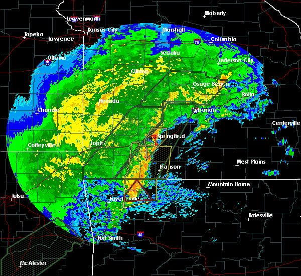 Radar Image for Severe Thunderstorms near Strafford, MO at 1/10/2020 5:38 PM CST