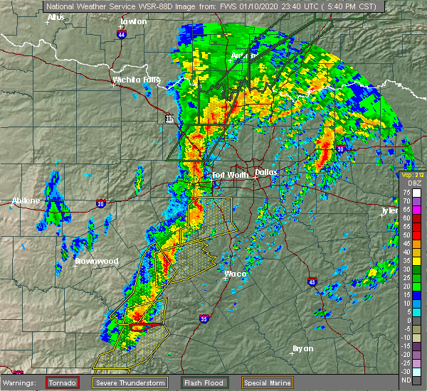 Radar Image for Severe Thunderstorms near Cleburne, TX at 1/10/2020 5:45 PM CST