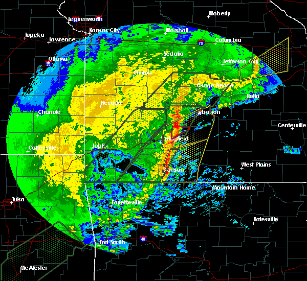 Radar Image for Severe Thunderstorms near Marshfield, MO at 1/10/2020 6:14 PM CST