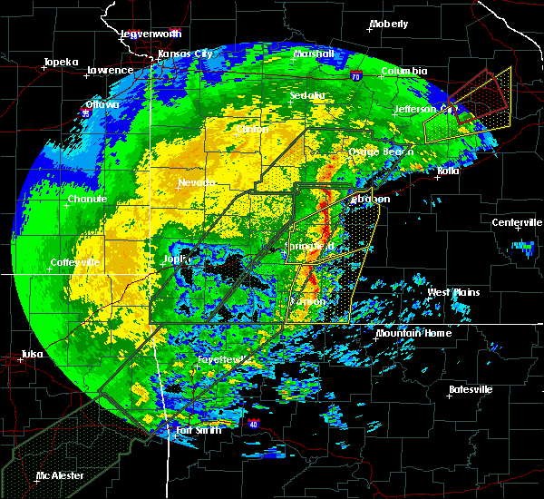 Radar Image for Severe Thunderstorms near Ava, MO at 1/10/2020 6:28 PM CST