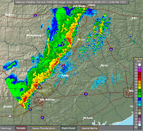 Radar Image for Severe Thunderstorms near Woodway, TX at 1/10/2020 7:02 PM CST