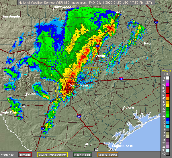 Radar Image for Severe Thunderstorms near Wimberley, TX at 1/10/2020 7:53 PM CST
