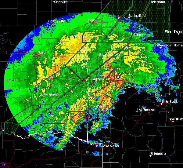 Radar Image for Severe Thunderstorms near New Blaine, AR at 1/10/2020 7:56 PM CST