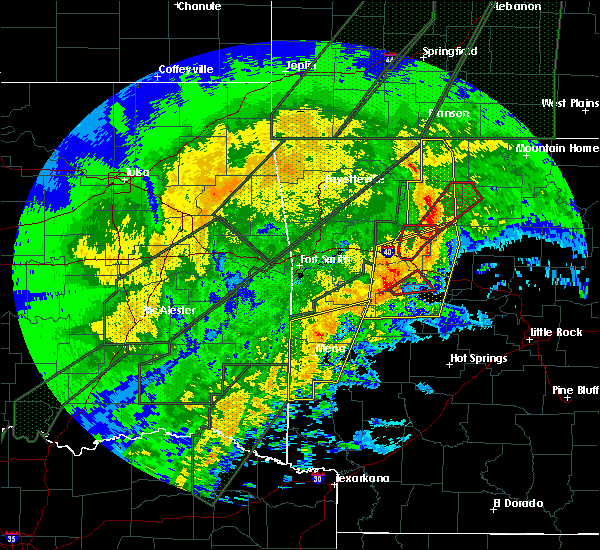 Radar Image for Severe Thunderstorms near New Blaine, AR at 1/10/2020 8:37 PM CST