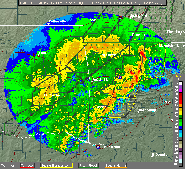 Radar Image for Severe Thunderstorms near Danville, AR at 1/10/2020 9:15 PM CST