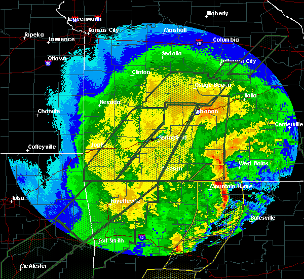 Radar Image for Severe Thunderstorms near Pomona, MO at 1/10/2020 10:22 PM CST