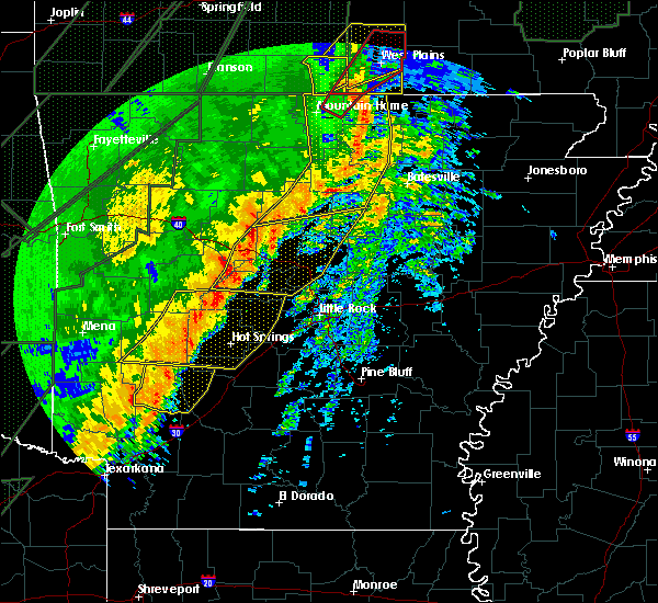 Radar Image for Severe Thunderstorms near Melbourne, AR at 1/10/2020 10:33 PM CST