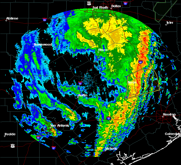 Radar Image for Severe Thunderstorms near Normangee, TX at 1/10/2020 10:35 PM CST