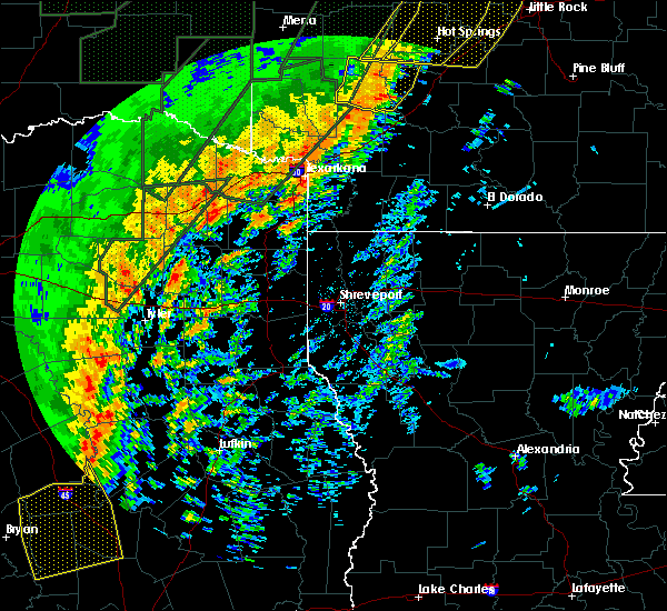 Radar Image for Severe Thunderstorms near Noonday, TX at 1/10/2020 10:52 PM CST