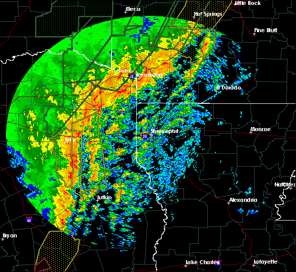 Radar Image for Severe Thunderstorms near Gladewater, TX at 1/10/2020 11:31 PM CST