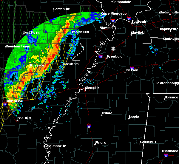 Radar Image for Severe Thunderstorms near Delaplaine, AR at 1/11/2020 12:26 AM CST
