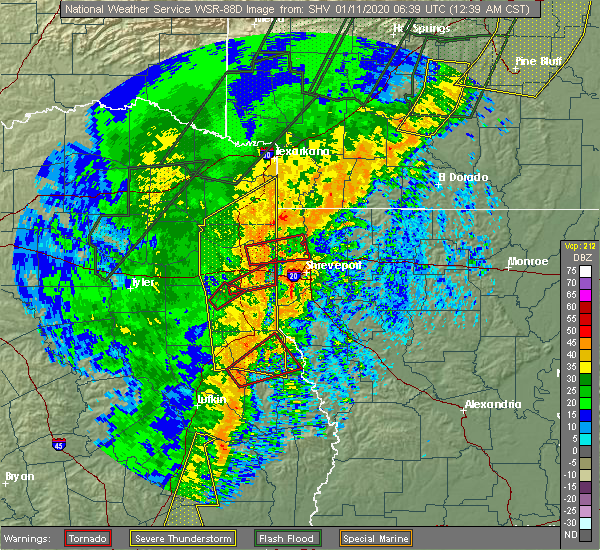Radar Image for Severe Thunderstorms near Keachi, LA at 1/11/2020 12:43 AM CST