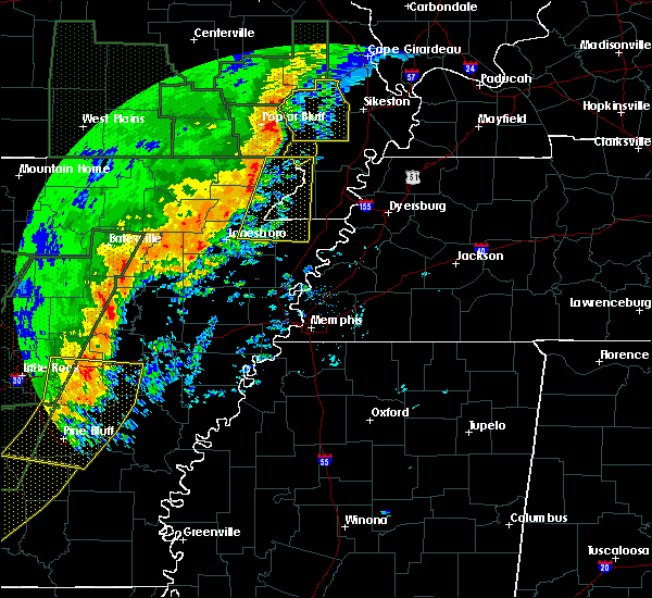 Radar Image for Severe Thunderstorms near Senath, MO at 1/11/2020 1:18 AM CST