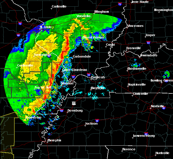 Radar Image for Severe Thunderstorms near Malden, MO at 1/11/2020 1:43 AM CST