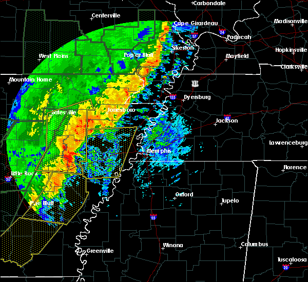 Radar Image for Severe Thunderstorms near Blytheville, AR at 1/11/2020 1:55 AM CST