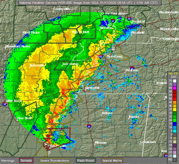Radar Image for Severe Thunderstorms near Union City, TN at 1/11/2020 3:57 AM CST