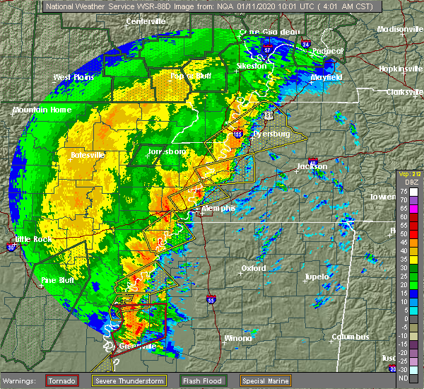 Radar Image for Severe Thunderstorms near Clarksdale, MS at 1/11/2020 4:07 AM CST