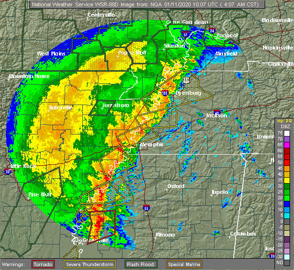 Radar Image for Severe Thunderstorms near Collierville, TN at 1/11/2020 4:12 AM CST