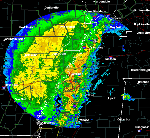 Radar Image for Severe Thunderstorms near Senatobia, MS at 1/11/2020 4:58 AM CST