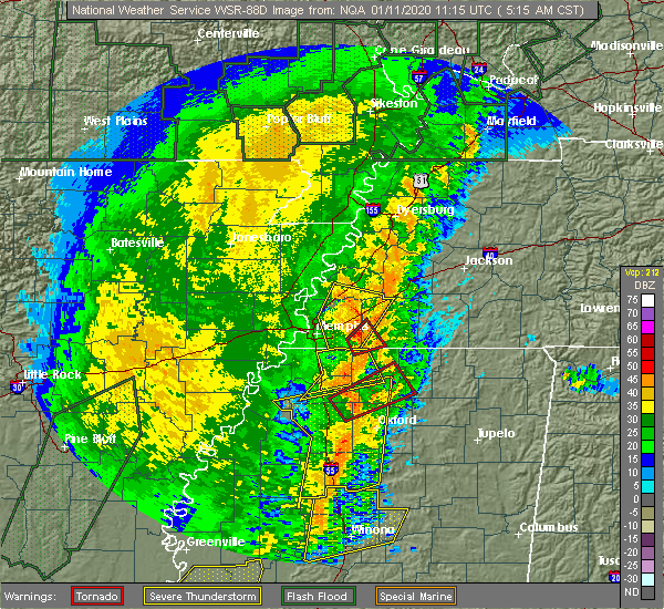 Radar Image for Severe Thunderstorms near Senatobia, MS at 1/11/2020 5:19 AM CST