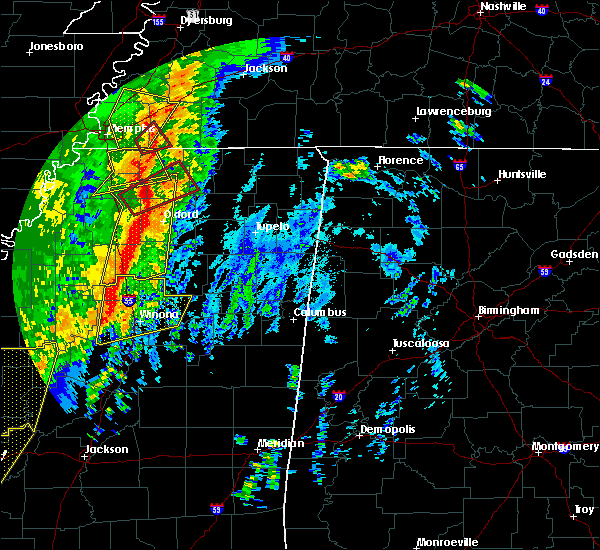 Radar Image for Severe Thunderstorms near Toccopola, MS at 1/11/2020 5:22 AM CST