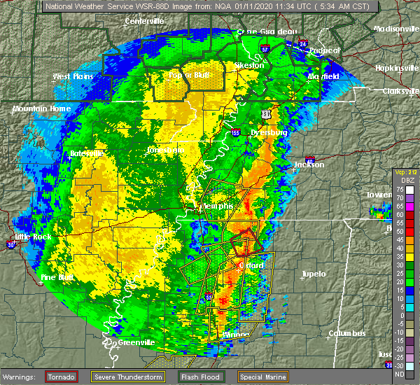 Radar Image for Severe Thunderstorms near Holly Springs, MS at 1/11/2020 5:40 AM CST