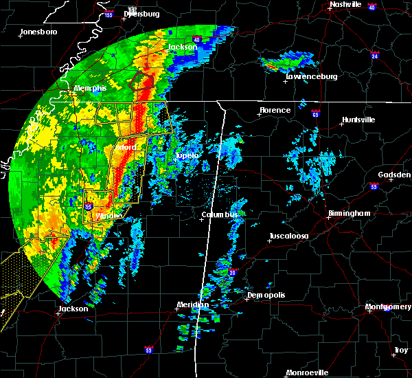 Radar Image for Severe Thunderstorms near Saltillo, MS at 1/11/2020 6:00 AM CST