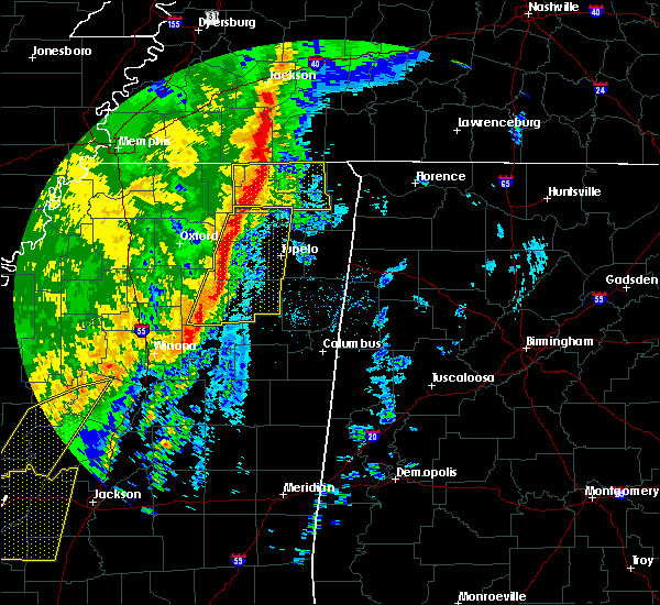 Radar Image for Severe Thunderstorms near Saltillo, MS at 1/11/2020 6:19 AM CST