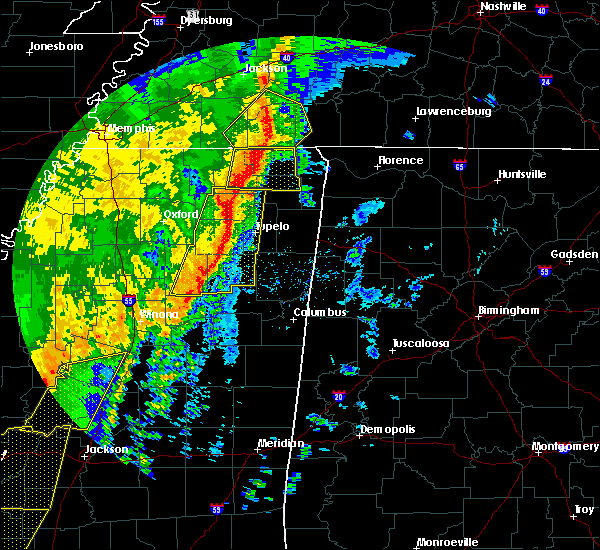 Radar Image for Severe Thunderstorms near Saltillo, MS at 1/11/2020 6:36 AM CST