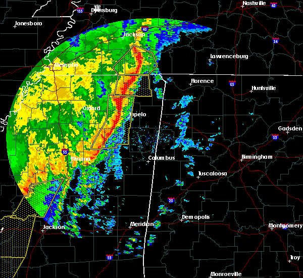 Radar Image for Severe Thunderstorms near Saltillo, MS at 1/11/2020 6:40 AM CST