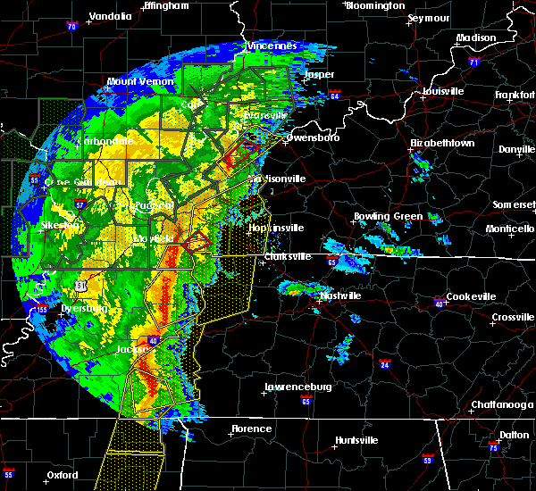 Radar Image for Severe Thunderstorms near Fort Campbell North, KY at 1/11/2020 6:57 AM CST