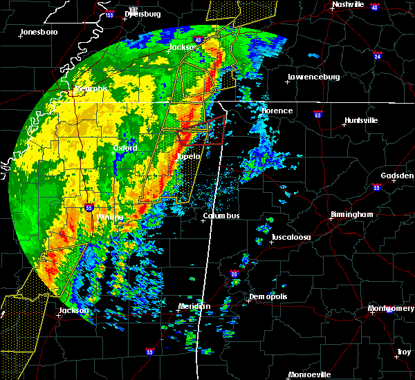 Radar Image for Severe Thunderstorms near Corinth, MS at 1/11/2020 7:02 AM CST