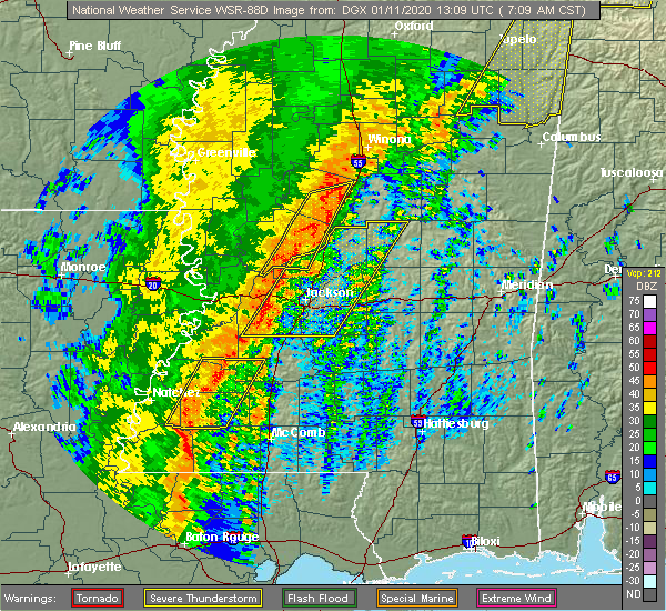 Radar Image for Severe Thunderstorms near Flowood, MS at 1/11/2020 7:19 AM CST
