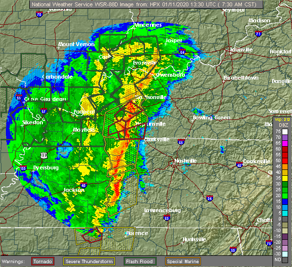 Radar Image for Severe Thunderstorms near McEwen, TN at 1/11/2020 7:32 AM CST