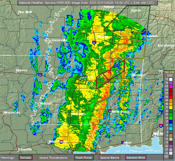 Radar Image for Severe Thunderstorms near Decatur, MS at 1/11/2020 9:49 AM CST