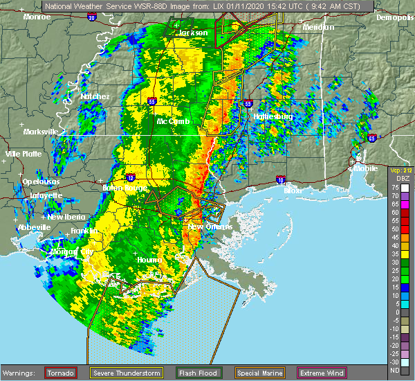Radar Image for Severe Thunderstorms near Purvis, MS at 1/11/2020 9:53 AM CST