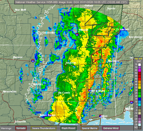 Radar Image for Severe Thunderstorms near Lauderdale, MS at 1/11/2020 10:09 AM CST