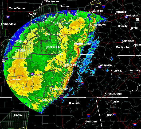 Radar Image for Severe Thunderstorms near Nashville, TN at 1/11/2020 10:09 AM CST