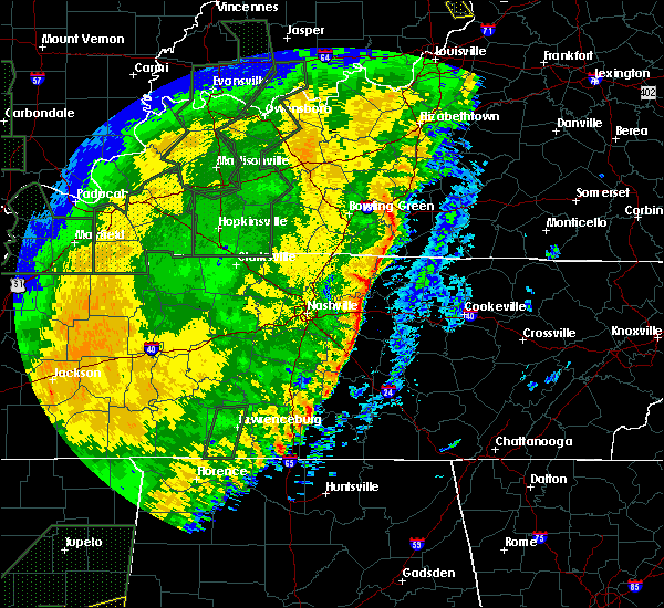 Radar Image for Severe Thunderstorms near Alexandria, TN at 1/11/2020 10:23 AM CST