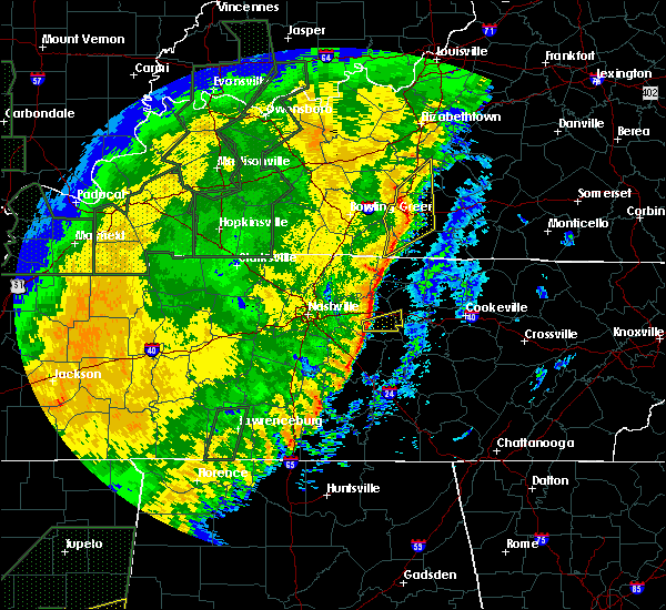 Radar Image for Severe Thunderstorms near Alexandria, TN at 1/11/2020 10:25 AM CST