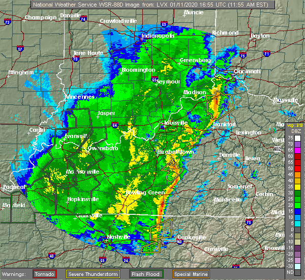 Radar Image for Severe Thunderstorms near Loretto, KY at 1/11/2020 11:59 AM EST