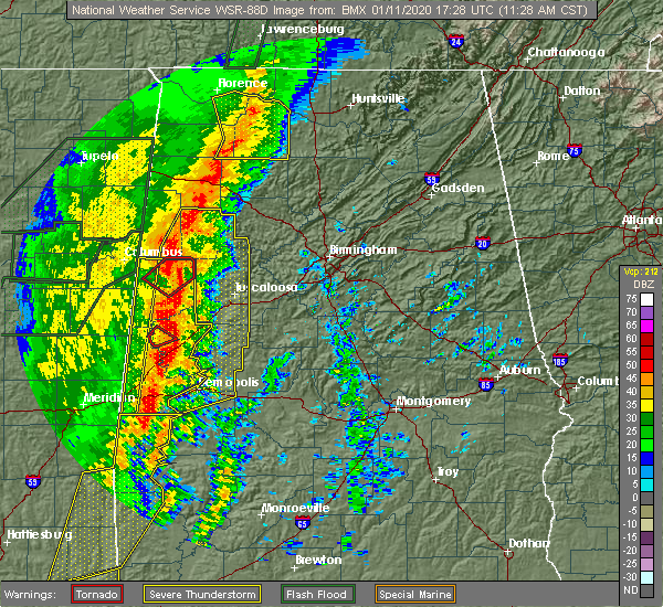 Radar Image for Severe Thunderstorms near Millport, AL at 1/11/2020 11:30 AM CST