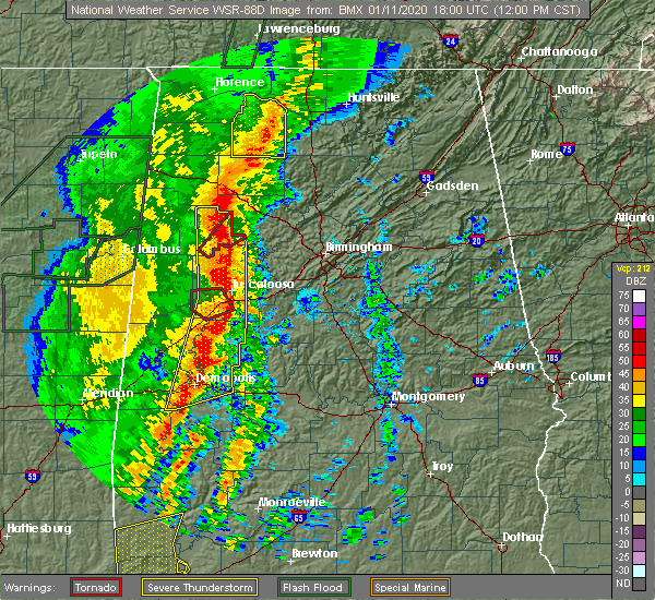 Radar Image for Severe Thunderstorms near Mulga, AL at 1/11/2020 12:04 PM CST