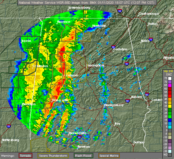 Radar Image for Severe Thunderstorms near Birmingham, AL at 1/11/2020 12:12 PM CST