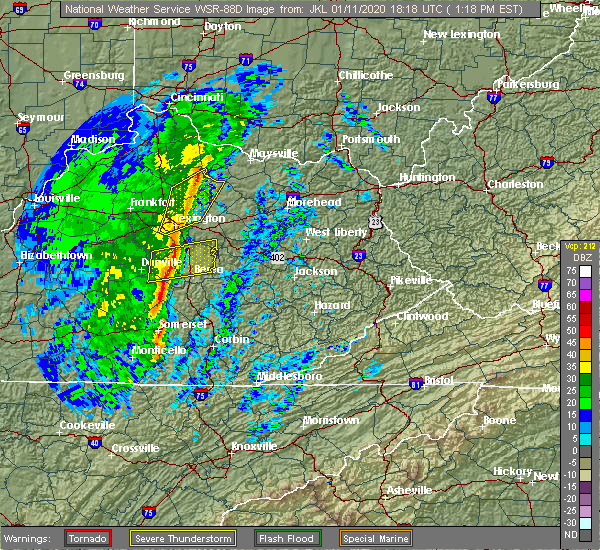 Radar Image for Severe Thunderstorms near Richmond, KY at 1/11/2020 1:22 PM EST