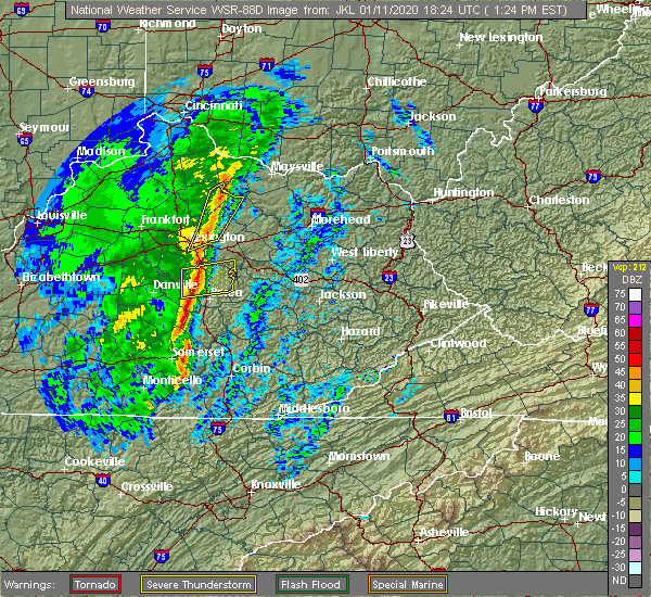 Radar Image for Severe Thunderstorms near Winchester, KY at 1/11/2020 1:29 PM EST