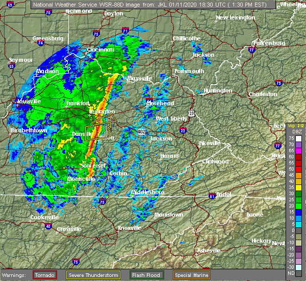 Radar Image for Severe Thunderstorms near Richmond, KY at 1/11/2020 1:37 PM EST