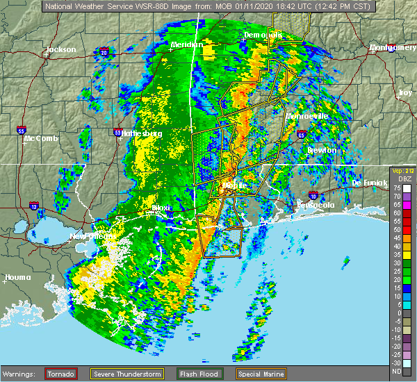 Radar Image for Severe Thunderstorms near Spanish Fort, AL at 1/11/2020 12:53 PM CST